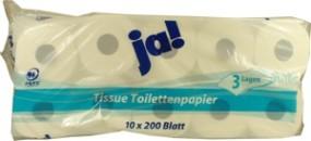 Tissue Toilettenpapier 10 Rollen 3 Lagen