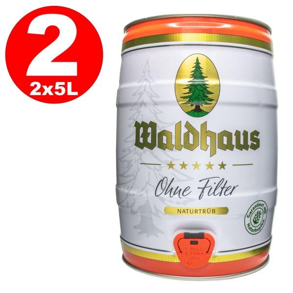 2 x Waldhaus ohne Filter Naturtrüb 5 L Partyfass 5,6 % vol. Das Männerbier