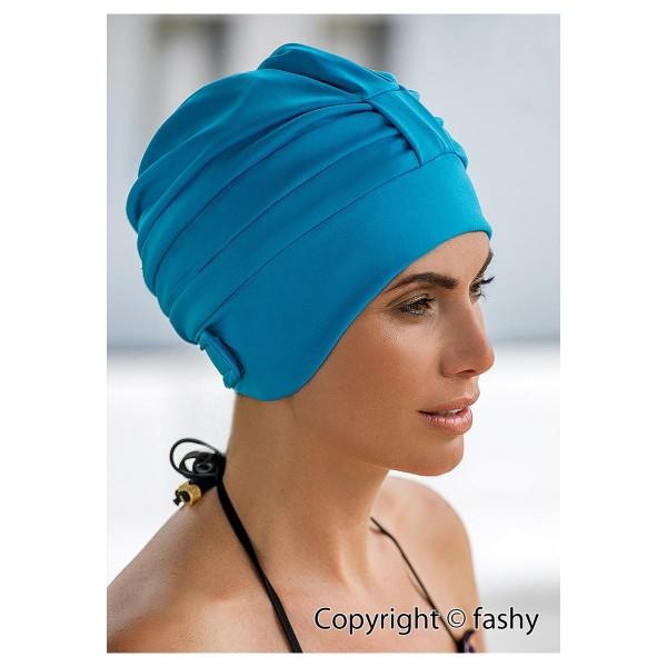 Badehaube Damen türkise Polyester Badekappe mit Klettverschluss