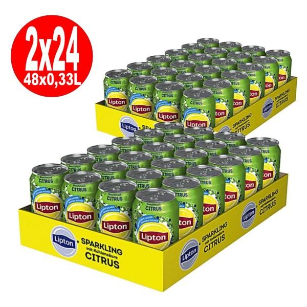 2 x Lipton Sparkling Citrus Eistee mit Kohlensäure 24 x 0,33L Dose Einweg