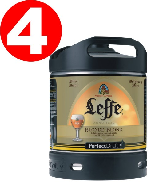 4x Leffe blonde aus Belgien Perfect Draft 6 Liter Fass 6,6 % vol MEHRWEG