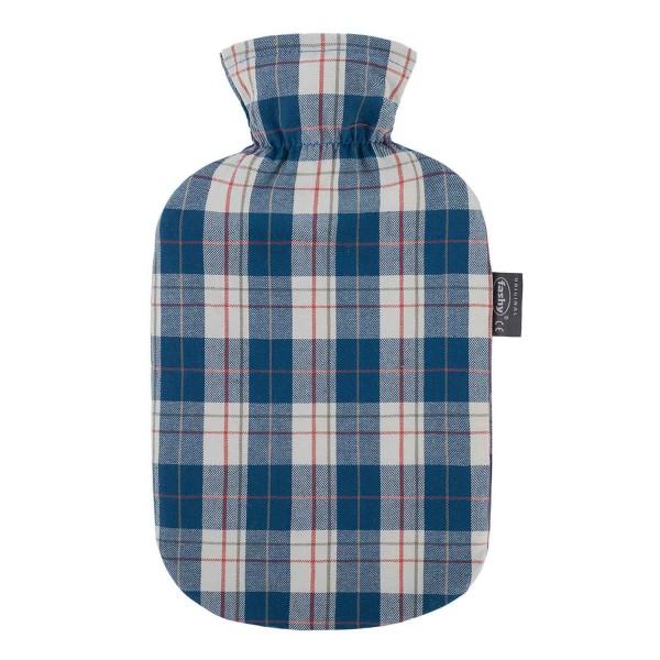 fashy 6536_59 Wärmflasche mit Baumwollbezug im Karodesign, Aqua 2 Liter