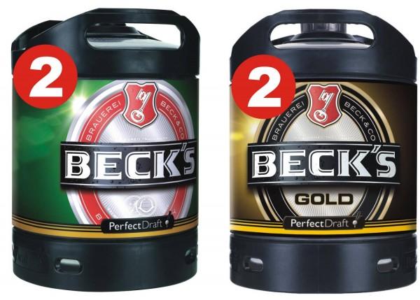 2 x Becks Pils + 2 x Becks Gold Perfect Draft 6 Liter Fass 4,9 % vol. MEHRWEG