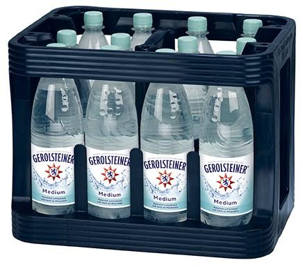 12 x Gerolsteiner Medium 1 Liter Mineralwasser PET-Flasche Originalkiste MEHRWEG