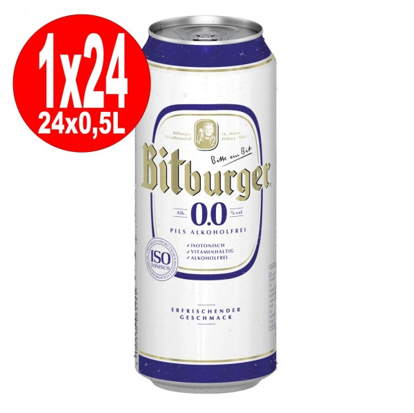 24x0,5L Dosen Bitburger Pilsener 0.0 ALKOHOLFREI EINWEG