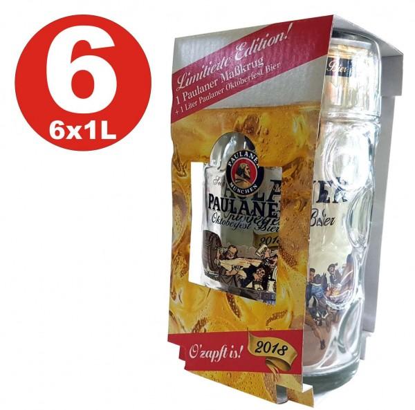 6 x Paulaner Oktoberfestbier Set mit Maßkrug und 1 L Dose Bier 6,0% vol.alc.