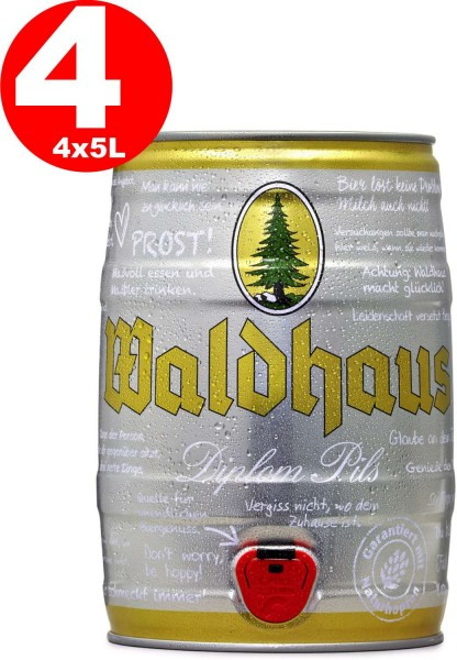 4 x Waldhaus diplom pils 5 Liter 4,9% vol. Partyfass