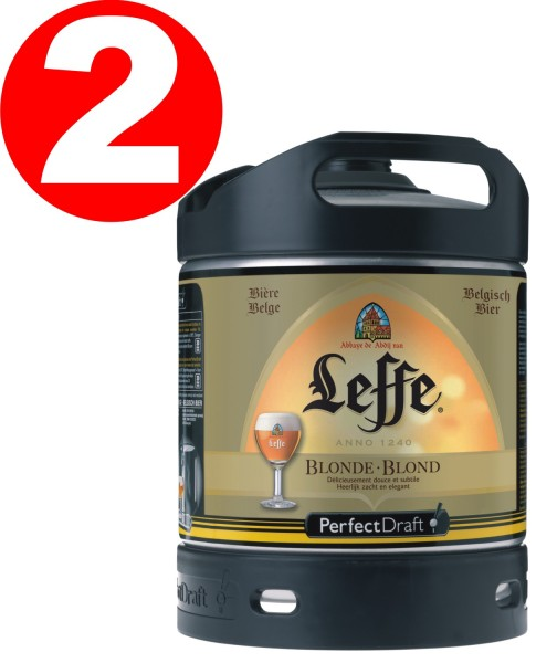 2 x Leffe blonde aus Belgien Perfect Draft 6 Liter Fass 6,6 % vol. MEHRWEG