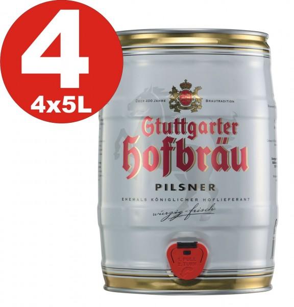 4 x Stuttgarter Hofbräu Pilsner 5 L Partyfass 4,9 % vol