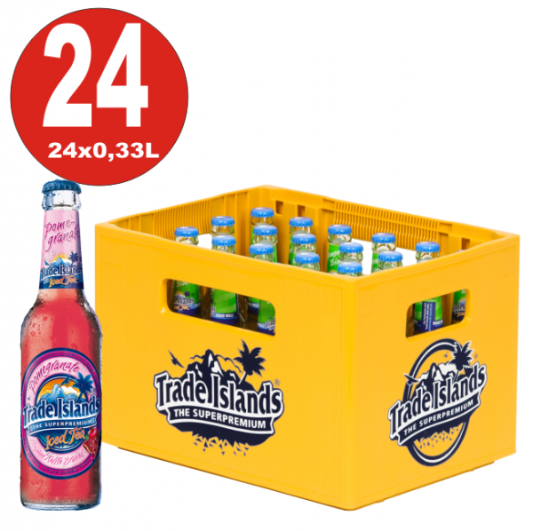 24 x Trade Islands Pomegranate Premium Ice Tea 0,33L Glasflasche in Originalkiste MEHRWEG Eistee