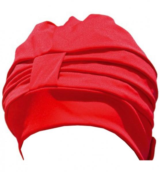 Badehaube Damen rote Polyester Badekappe mit Klettverschluss