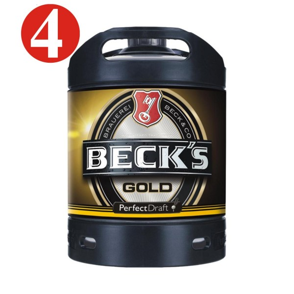 4x Becks Gold Perfect Draft Gold 6 liter Fass 4,9 % vol