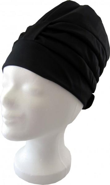 Badehaube Damen schwarze Polyester Badekappe mit Klettverschluss