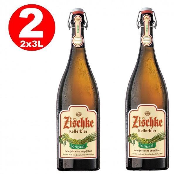 2 x Zischke Kellerbier Original 3 Liter! Bügel-Flasche ungefiltert 4,8% vol MEHRWEG-Copy