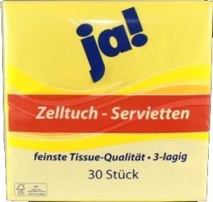 Eigenmarke Zelltuch Servietten gelb 30 Stück 3 Lagen