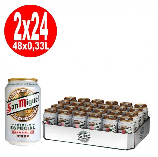 2 x 24 x 0,33L Dosen San Miguel Especial spanisches Lagerbier 5% Vol inklusive Pfand - EINWEG
