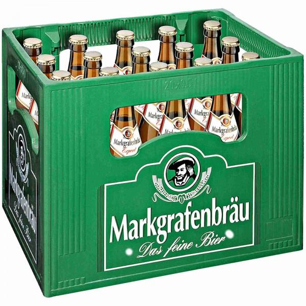 20 x Markgrafenbräu Export 0,5 L- 5,1 % Alkohol Originalkiste MEHRWEG