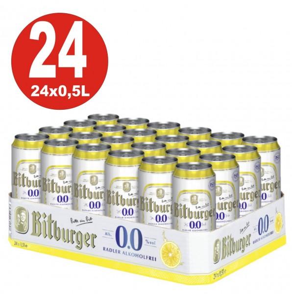24 x 0,5L Dosen Bitburger Radler ALKOHOLFREI
