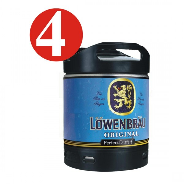 4 x Löwenbräu Original Perfect Draft 6 Liter Fass 5,2 % vol MEHRWEG