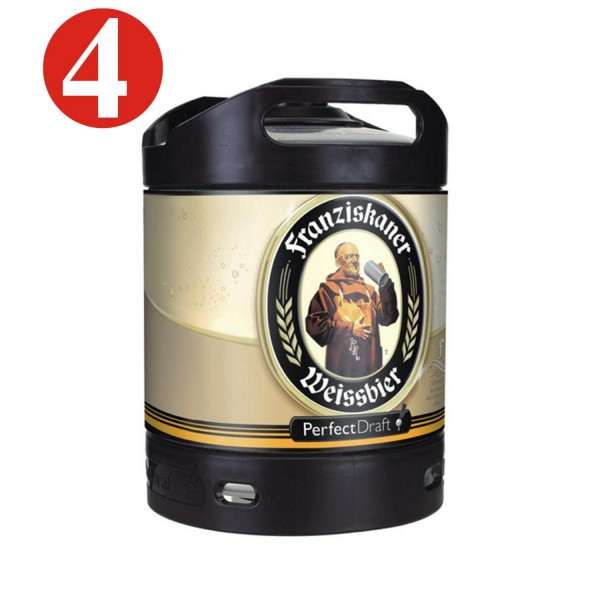 4x Franziskaner Weissbier Perfect Draft 6 Liter Fass 5,0 % vol