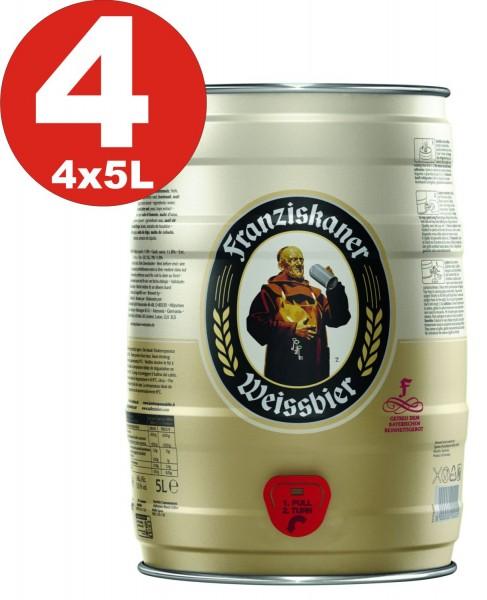 4 x Franziskaner Hefe-Weissbier Naturtrüb 5 L Partyfass 5,0 % vol