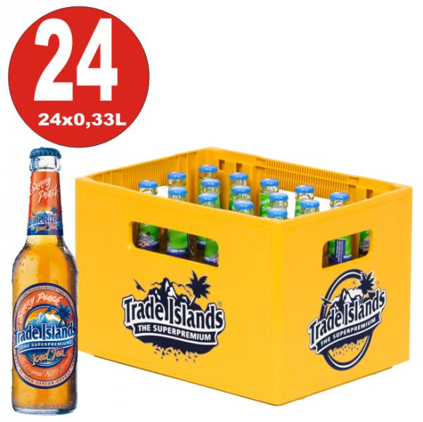 24 x Trade Islands Sunny Peach Premium Ice Tea 0,33L Glasflasche in Originalkiste MEHRWEG Eistee