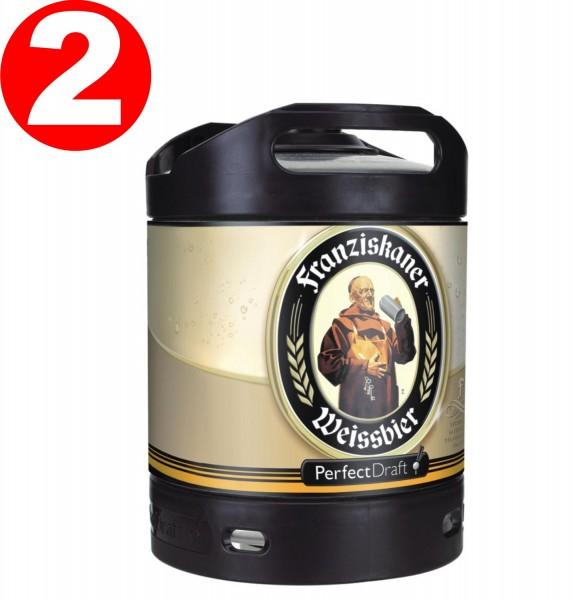 2 x Franziskaner Weissbier Perfect Draft 6 Liter Fass 5,0 % vol.