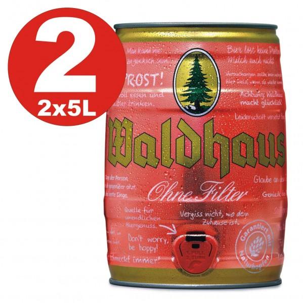 2 x Waldhaus ohne Filetr Naturtrüb 5 L Partyfass 5,6 % vol. Das Männerbier