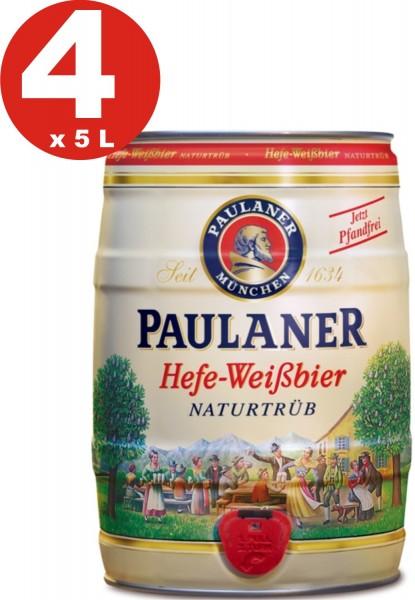 4 x Paulaner Hefe-Weissbier Naturtrüb 5,5 % vol 5 Liter Partyfass