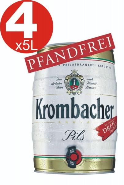 4x Krombacher Partyfass 5 Liter 4,8% vol.
