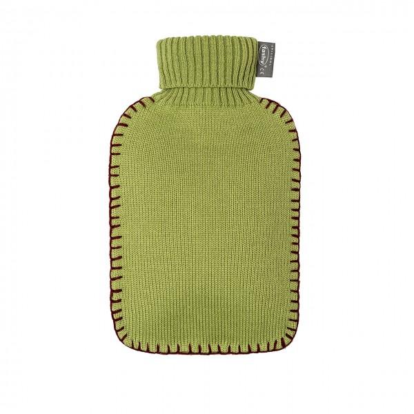 fashy 6715_66 Wärmflasche mit Rollkragen-Strickbezug, Olivgrün - 2 Liter