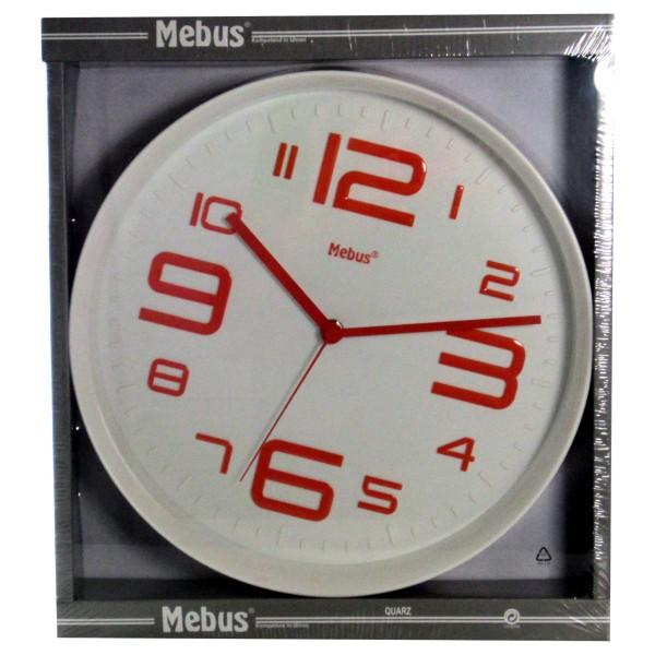 Mebus Wanduhr Rot 29 cm