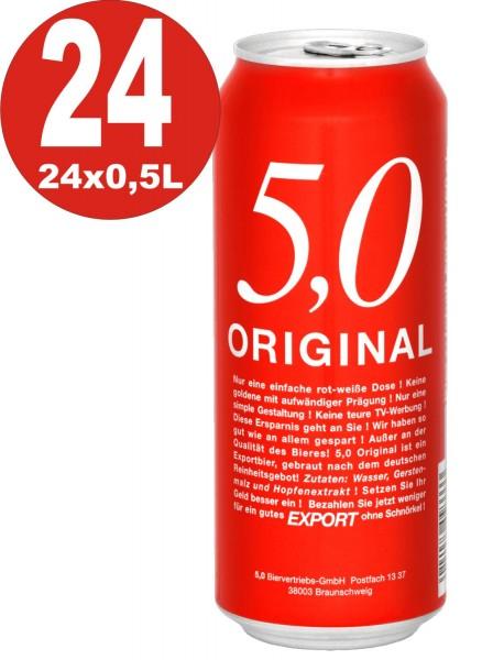 5.0 Original Export 24x0,5L Dosen 5,2% Vol Günstiges Dosenbier_EINWEG