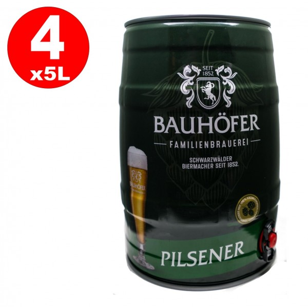 4 x Bauhöfer (Ulmer) Pilsner Partyfass 5,0 Liter 5,2% vol.