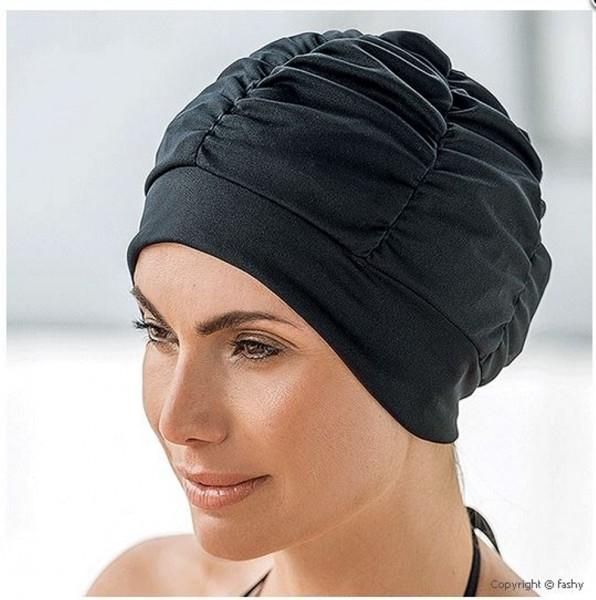Badehaube Damen schwarze Polyester Badekappe mit Silikon Abdichtung