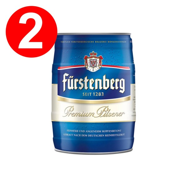 2 x Fürstenberg Partyfass 5 Liter mit Zapfhahn 4,8% vol