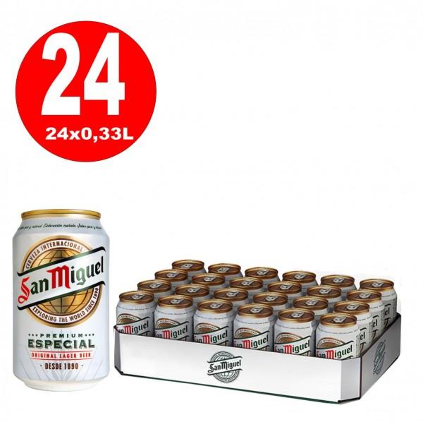 24 x 0,33L Dosen San Miguel Especial spanisches Lagerbier 5% Vol inklusive Pfand - EINWEG