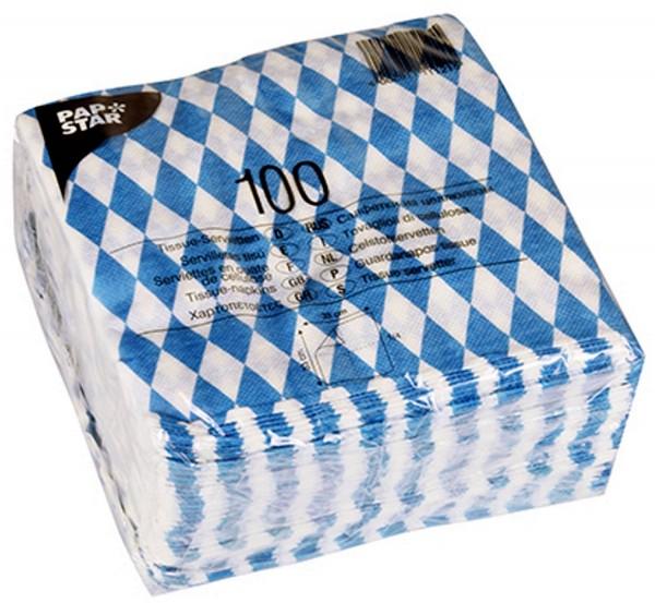 1 Pack x 100 Tissue - Servietten Bayernraute Bayrisch blau 33 x33 cm zum Oktoberfest