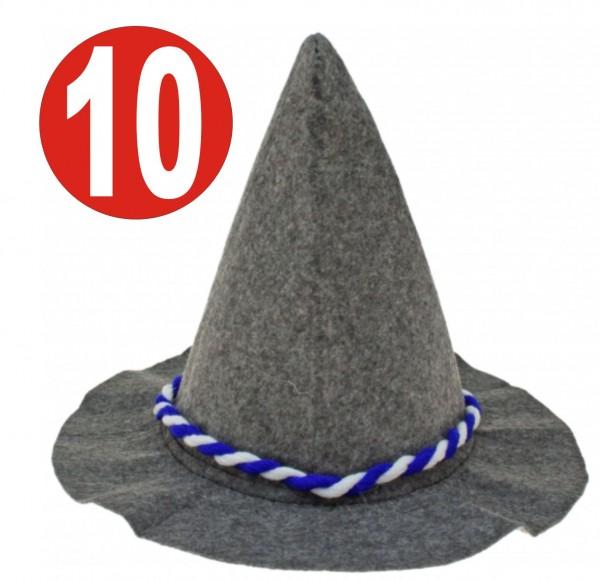 10 x Seppelhut grauer schwerer Filz mit blau/weiss-Kordel für Oktoberfest 33 cm