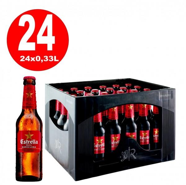 24 x Estrella Damm spanisches Lagerbier 5,4% vol. 0,33l Originalkiste MEHRWEG