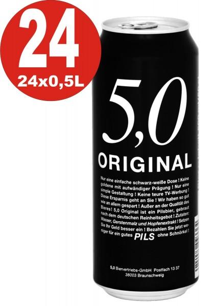 5.0 Original Pils 24x0,5L Dosen 5% Vol Günstiges Dosenbier_EINWEG