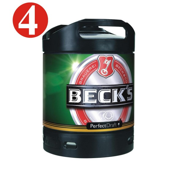 4x Becks Pils Perfect Draft 6 Liter Fass 4,9 % vol MEHRWEG