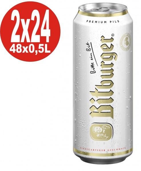 2 x Bitburger Pilsener 24x0,5L = 48 Dosen 4,8% Vol.alc._EINWEG