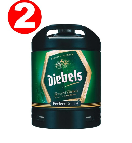 2 x Diebels Alt Perfect Draft Fass 6 Liter 4,9 % vol. MEHRWEG