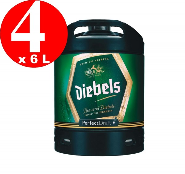 4 x Diebels Alt Perfect Draft Fass 6 Liter 4,9 % vol. MEHRWEG