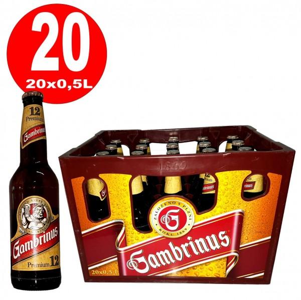 20 x Gambrinus Premium 12 0,5L Flaschen Originalkiste 5,2% vol- MEHRWEG