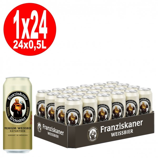 24x 0,5L Dosen Franziskaner Hefe Weissbier Hell Naturtrüb 5 % Vol.- EINWEG