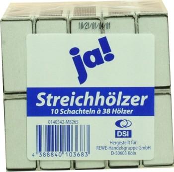 Eigenmarke Streichhölzer 10 Packungen mit 38 Zündhözer