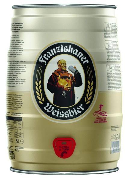 Franziskaner REDUZIERT Hefe-Weissbier Naturtrüb 5 L Partyfass 5,0 % vol. MHD 04/19