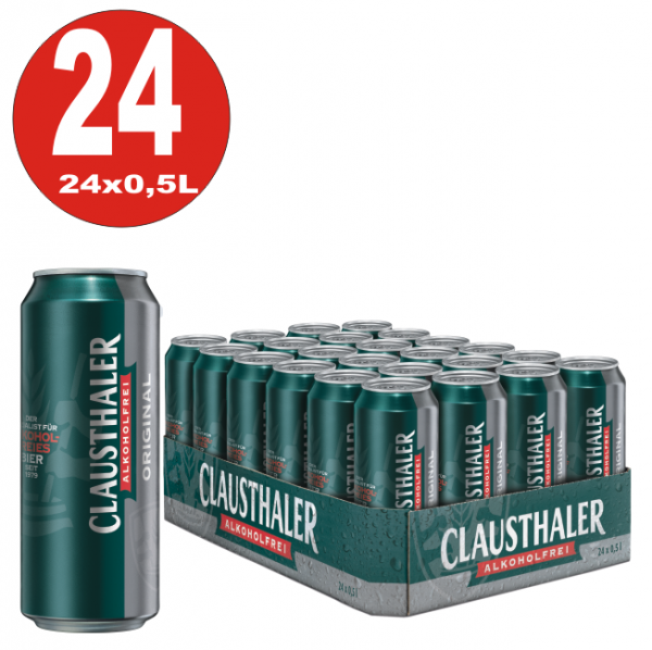24x 0,5L Dosen Clausthaler Original Bier ALKOHOLFREI-EINWEG